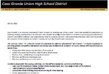 Interim Superintendent Letter