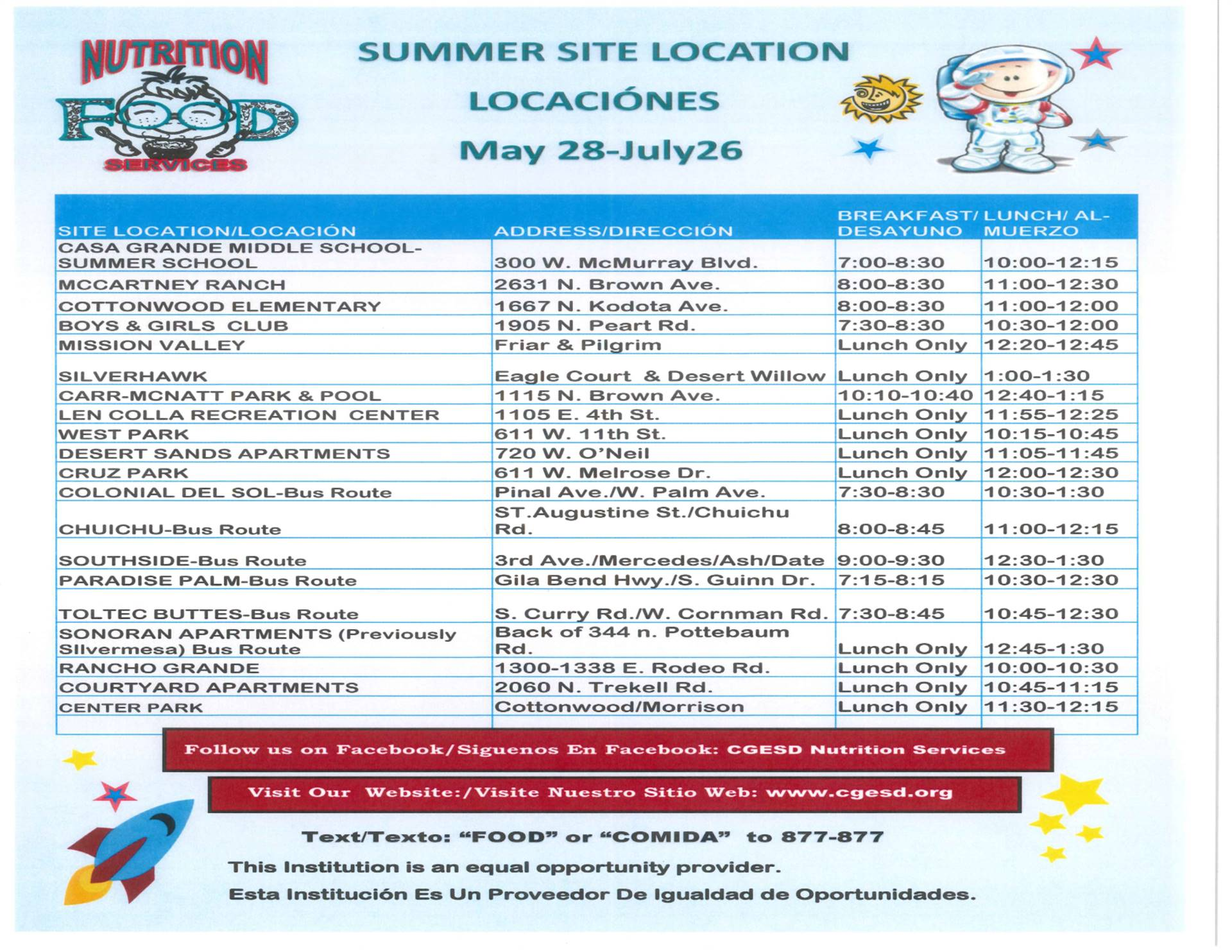 Summer Meals Locations & Times